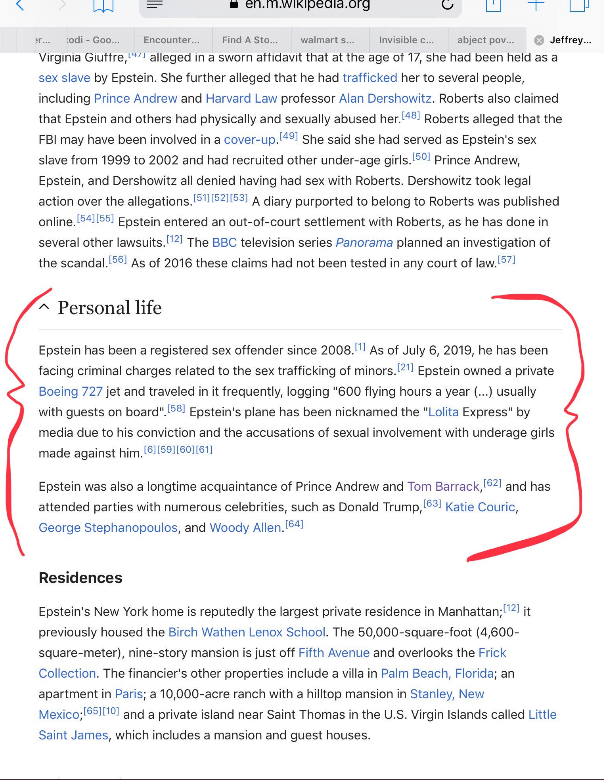 Snapshot of Wikipedia's article on Epstein at 10:30 AM
