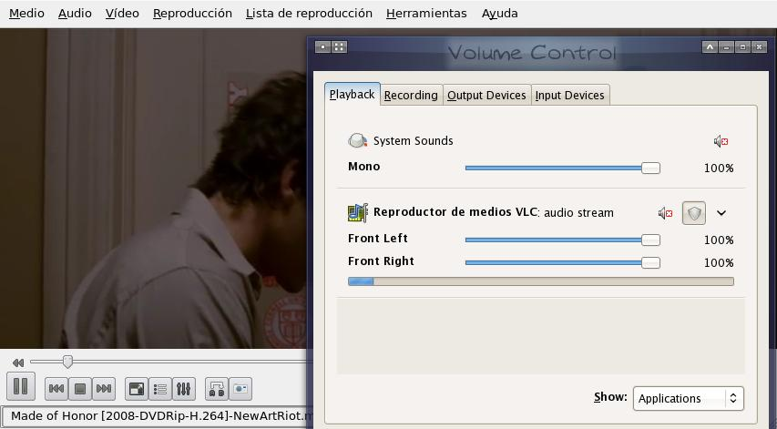 PulseAudio volume control, showing VLC